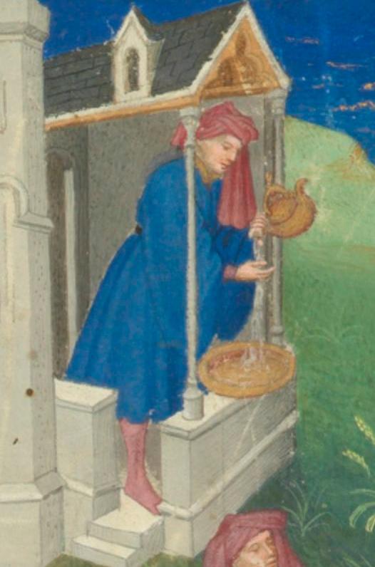 Enluminure qui montre le lavage des mains avec une puisette