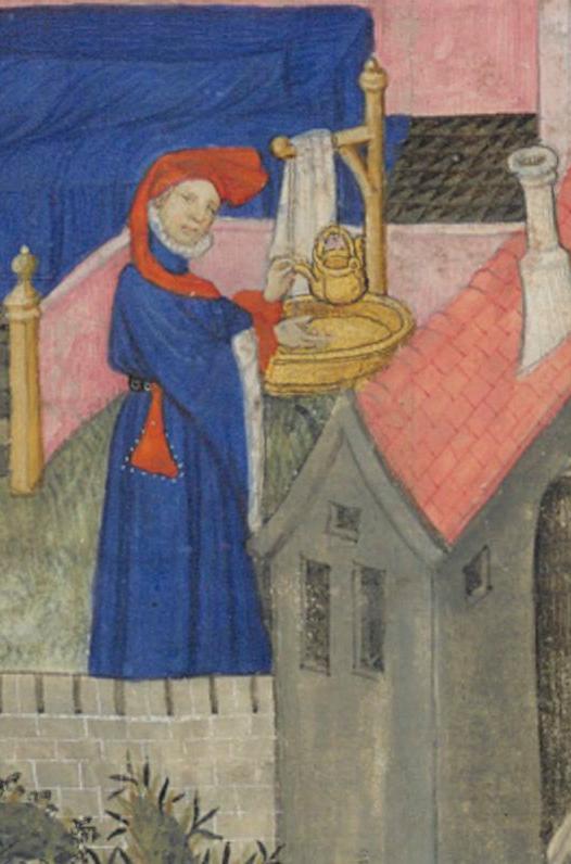 Enluminure montrant le lavage des mains à l'aide d'une puisette