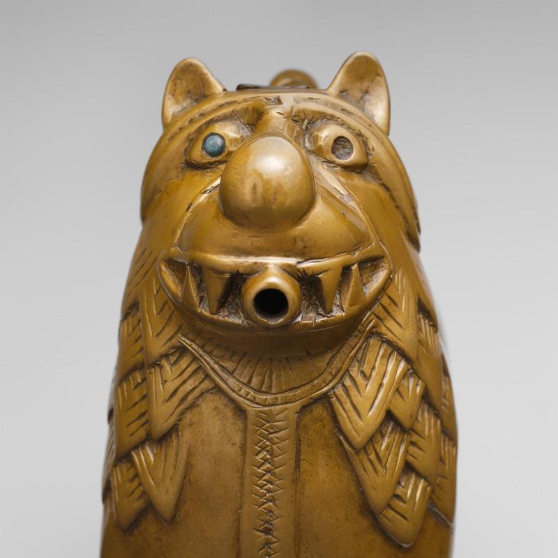 Détail de la tête de l'aquamanile en forme de lion